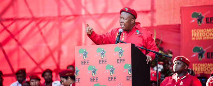 Economic Freedom Fighters (EFF) leader Julius Malema addressing the supporters during the party's manifesto launch at Orlando Stadium on 30 April 2016. Picture: @EFFSouthAfrica.