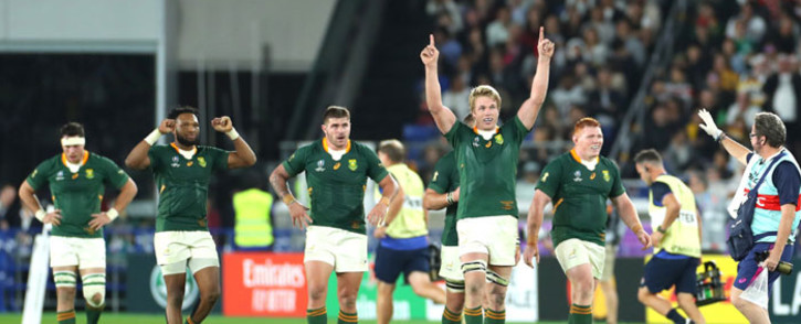 The Springboks celebrate after their win over England at the 2019 Rugby World Cup on 2 November 2019 in Japan. Picture: @Springboks/Twitter