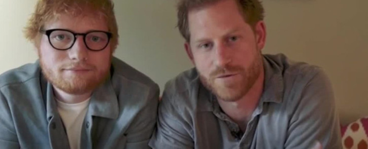 Video screengrab of Ed Sheeran (L) and Prince Harry (R) sharing a message on World Mental Health Day.