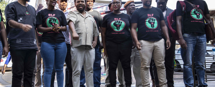 Black First Land First Leader Andile Mngxitama and members of his party arrive at the IEC head offices in Centurion. Picture: Abigail Javier/EWN