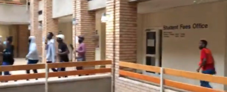UCT students occupied the Kramer building which houses the campus' student financial aid office on Friday, 12 March 2021. This comes as students in the country protest over university fees and financial exclusion. Picture: Kevin Brandt/Eyewitness News.