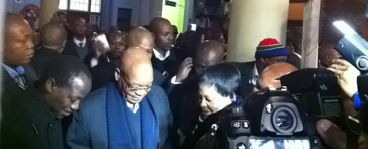President Jacob Zuma at Pretoria Train Station as he prepares to board a Metrorail train to Johannesburg. Picture: Gia Nicolaides/EWN.