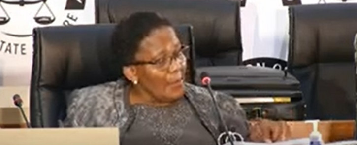 A screenshot of Dipuo Peters at the state capture inquiry on 22 February 2021. Picture: SABC Digital News/ YouTube.