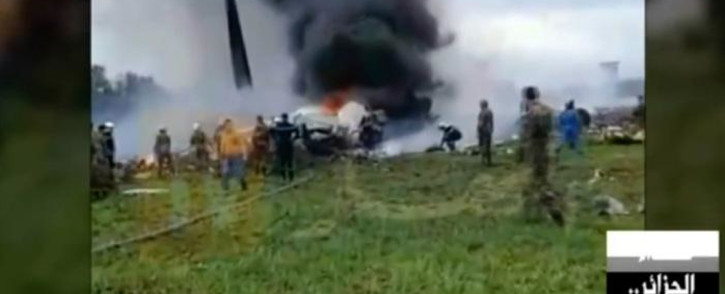 A screengrab from a video broadcast by Algeria's Ennahar satellite television channel on 11 April 2018 shows the scene of the crash of a transport plane, carrying  Algerian army personnel on board. The plane crashed shortly after taking off from an airbase outside the capital Algiers. Picture: AFP