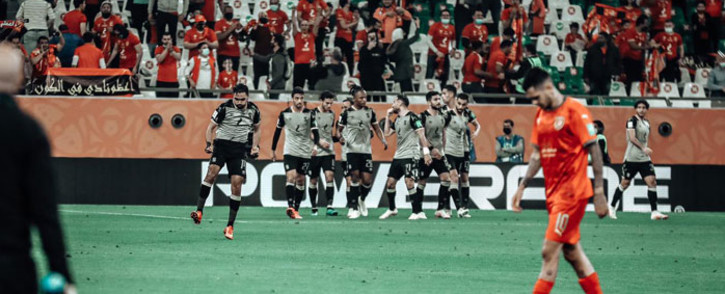 Al Ahly players celebrate a goal against Al Duhail in their Fifa Club World Cup match on 4 February 2021. Picture: @AlAhlyEnglish/Twitter