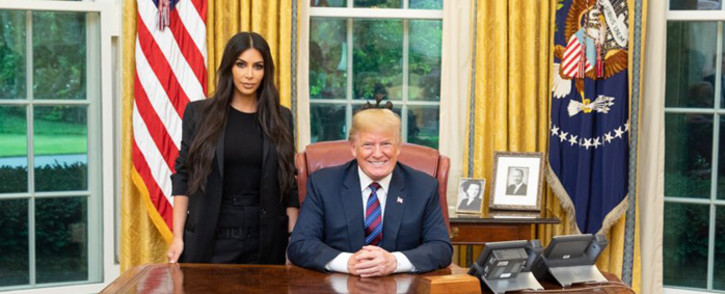 Kim Kardashian West met US President Donald Trump at the White House on 30 May 2018 to discuss prison reform. Picture: Twitter/@realDonaldTrump