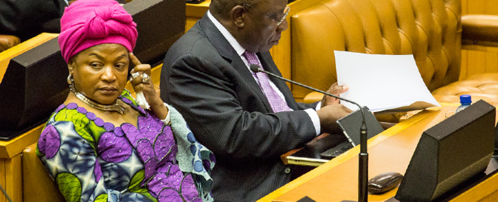 FILE: Speaker Baleka Mbete sits next to Deputy President Cyril Ramaphosa after his question and answer session in Parliament on 19 November 2014. Picture: Aletta Gardner/EWN
