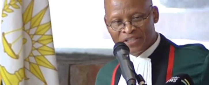 A screengrab of Chief Justice Mogoeng Mogoeng presenting the judiciary's annual performance report on 23 November 2018.