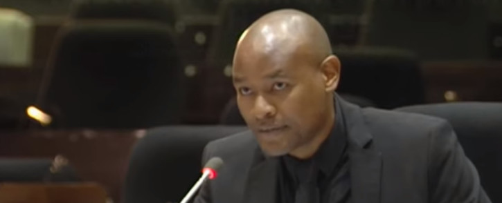 A YouTube screengrab shows Zakheni Dlamini at the PIC inquiry on 26 June 2019.