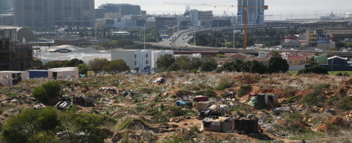 The homeless have found shelter on the open District Six land near Cape Town. Picture: Bertram Malgas/EWN.