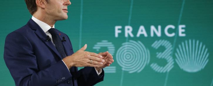 """France's President Emmanuel Macron gestures as he speaks during the presentation of """"France 2030"""" investment plan at The Elysee Presidential Palace in Paris, on 12 October 2021. Picture: AFP"""
