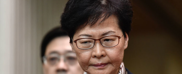 FILE: Hong Kong Chief Executive Carrie Lam reacts during a press conference in Hong Kong on 5 August 2019. Picture: AFP