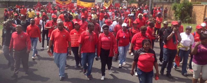 FILE: The National Union of Mineworkers members on strike. Picture: @NUM_Media.