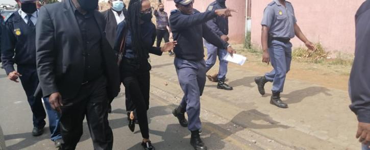 Police Minster Bheki Cele (left) visited Eldorado Park on 28 August 2020 after 16-year-old Nathaniel Julius was shot dead, allegedly by police. Picture: SAPS.