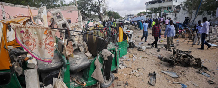 FILE: The site of a terror attack outside the Pizza House restaurant in Mogadishu on 15 June 2017. Picture: AFP