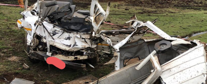 The wreckage after a mini-bus taxi rolled down an embankment near Underberg when the driver lost control of the vehicle. Picture: Arrive Alive