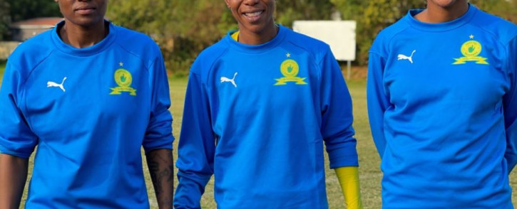 Mamelodi Sundowns Ladies players  Zanele Nhlapho, Agnes Nkosi & Andisiwe Mgcoyi. Picture: @SundownsLadies/Twitter.