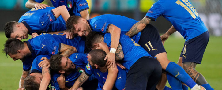 Italy players celebrate a goal during their Uefa Euro 2020 match against Switzerland on 16 June 2021. Picture: @EURO2020/Twitter