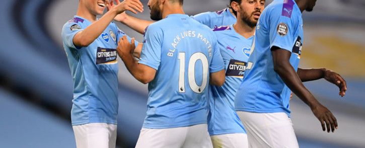 FILE: Manchester City players during an English Premier League football match with Arsenal on 17 June 2020. Picture: AFP.