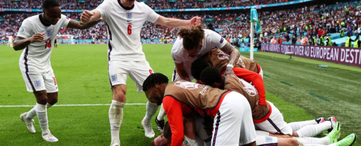 England players celebrate a goal in their win over Germany in their Euro 2020 last-16 match. Picture: @EURO2020/Twitter