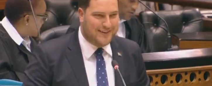 A screengrab of DA finance spokesperson Geordin Hill-Lewis in Parliament.