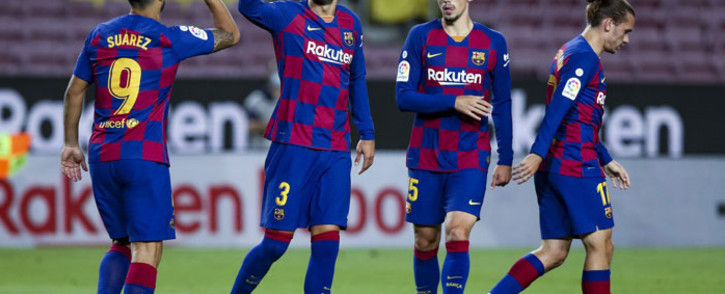 Barcelona players celebrate a goal during their La Liga match against Espanyol on 8 July 2020. Picture: @FCBarcelona/Twitter