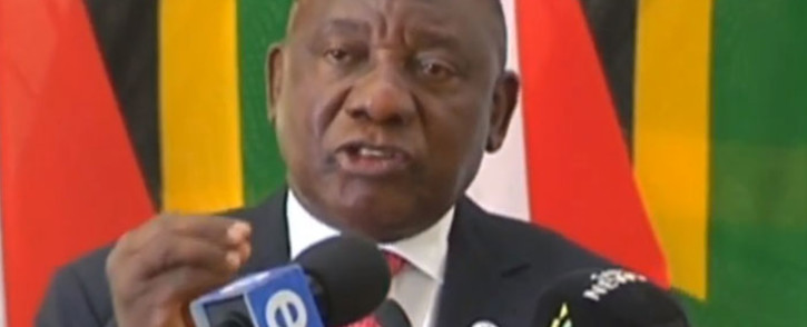 A screengrab of President Cyril Ramaphosa addressing South African diplomats on 23 October 2018.