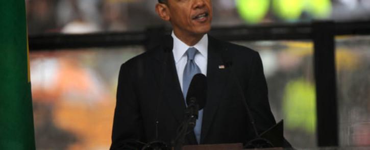 US President Barack Obama delivering his tribute to Nelson Mandela. Picture: Sapa.