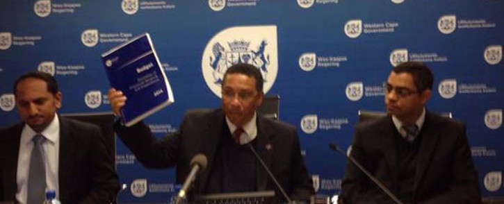 Finance MEC Ivan Meyer briefing the media on auditor-general's report of provincial department. Picture: Xolani Koyana/EWN.