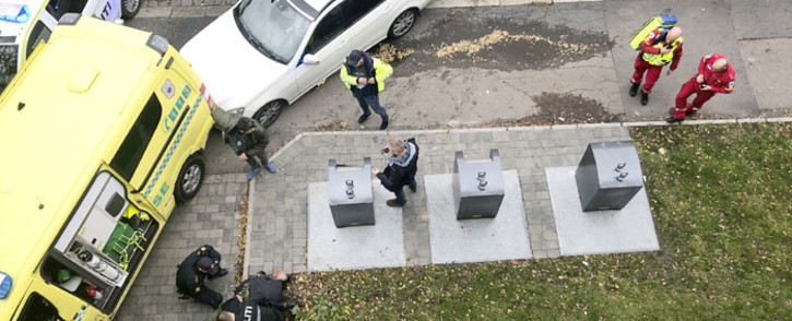 A man is arrested by the police after hijacking an ambulance in Oslo on 22 October 2019 in Oslo, Norway. Picture: AFP