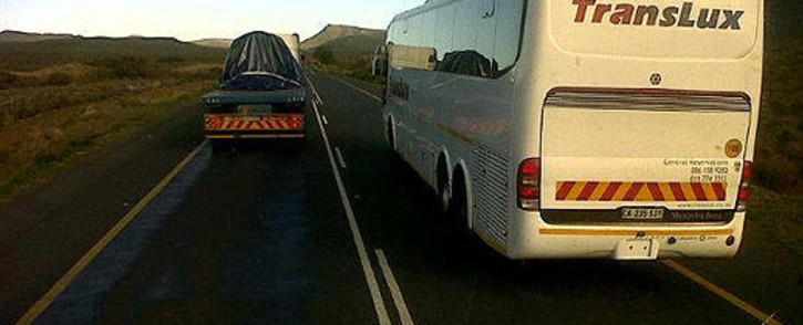 A Translux bus was photographed while illegally overtaking across a solid line on 24 July 2012. Picture: Supplied