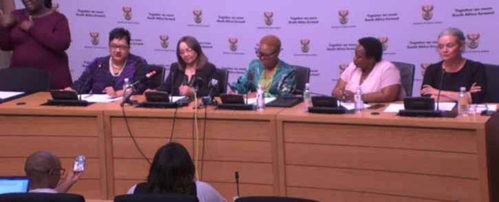 From left Western Cape Social Development MEC Sharna Fernandez, Public Works and Infrastructure Minister Patricia de Lille and Social Development Minister Lindiwe Zulu make an announcement on the fight against gender-based violence on 4 March 2020. Picture: @DepartmentPWI/Twitter