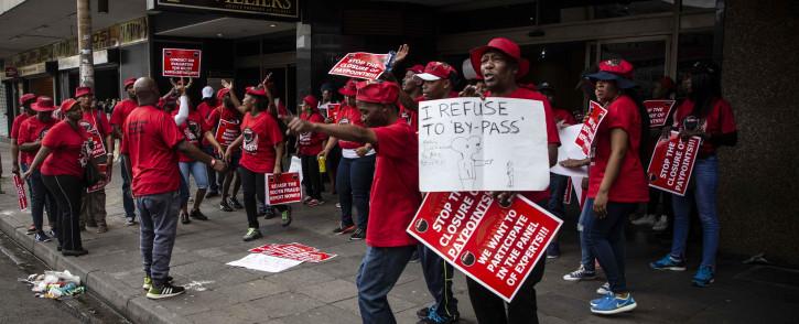 Protesting Nehawu members. Picture: Abigail Javier/EWN