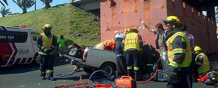 The heavy-duty truck involved in the chaotic accident on the N1 earlier this week did breach some permit rules. Picture: Zain Johnson/EWN