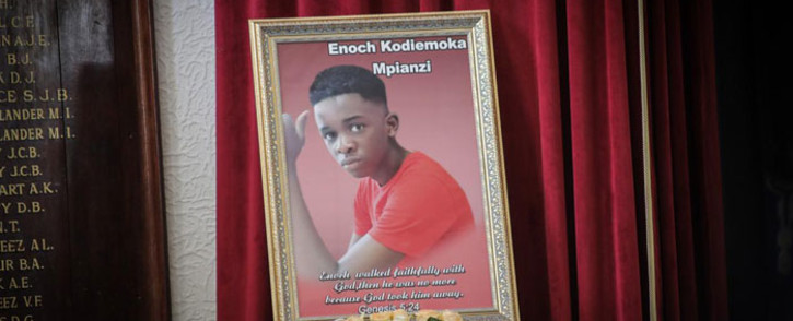 A picture of Enock Mpianzi is displayed during his memorial service at Parktown Boys' High on Tuesday, 28 January 2020. Picture: Abigail Javier/EWN.