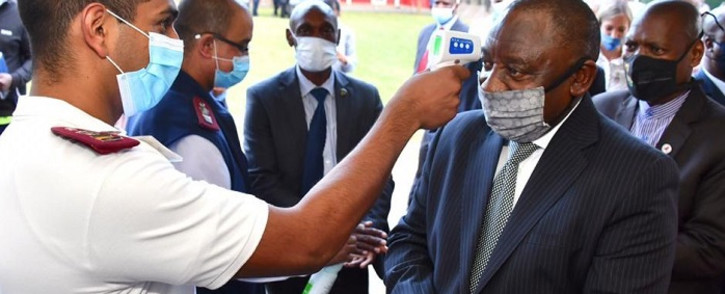 President Cyril Ramaphosa on a walkabout at the Agricultural Royal Showgrounds in Pietermaritzburg in KwaZulu-Natal on 5 May 2020. The site has been designated as a quarantine/ isolation facility for COVID-19 patients. Picture: @PresidencyZA/Twitter