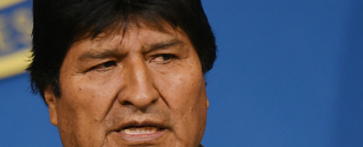 FILE: Hand out picture released by the Bolivian Presidency showing former Bolivian President Evo Morales at a press conference in El Alto, on 10 November, 2019. Picture: AFP