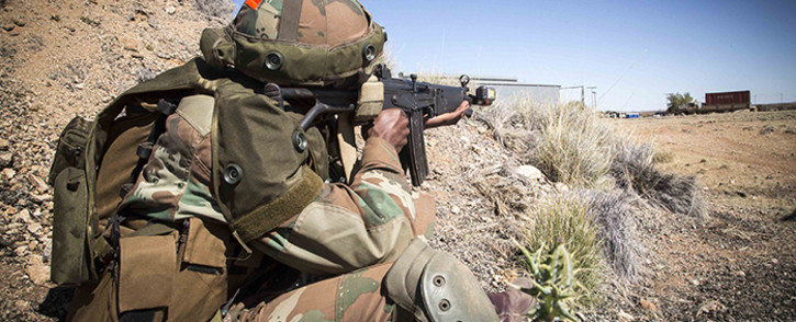 As part of Exercise Young Eagle, SANDF troops take part in war games in Upington in Force Preparations for active combat. Picture: Thomas Holder/EWN