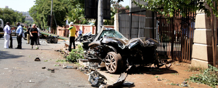 The scene on Oxford Road where a car collided with a tree on 10 January 2012, killing two people. Picture: Sebabatso Mosamo/EWN