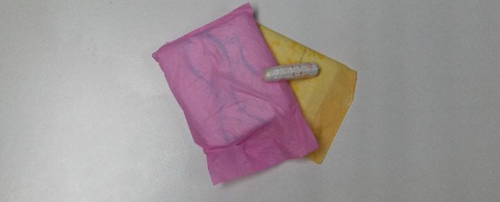 Sanitary pads and a tampon. Picture: Winnie Theletsane/EWN.