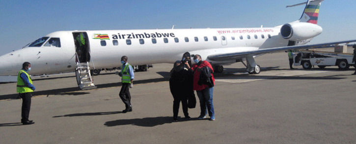 Air Zimbabwe tweeted a picture of the Embraer passenger jet after it landed at Victoria Falls on 2 June after the airline was grounded for months. Picture: @FlyAirZimbabwe/Twitter.