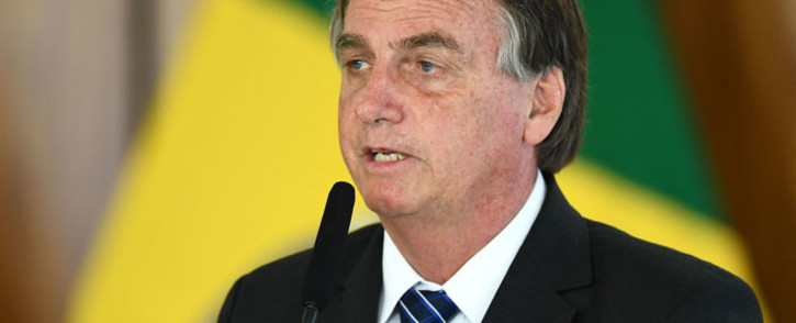 Brazilian President Jair Bolsonaro delivers a speech during the signing of agreements with his Colombian counterpart Ivan Duque at Planalto Palace in Brasilia, on 19 October 2021. Picture: EVARISTO SA/AFP
