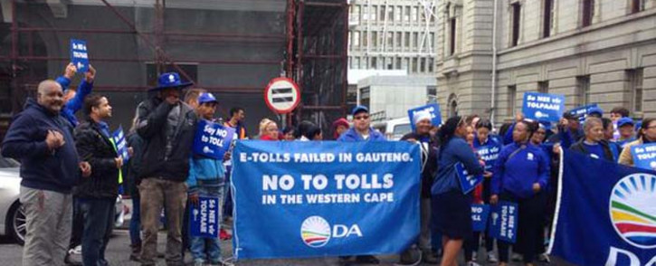 FILE: DA supporters protest against Sanral's tolling project in the Cape Winelands. Picture: Rahima Essop/EWN.