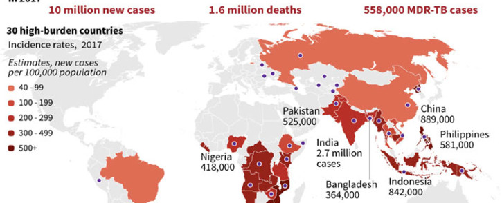 Graphic on the global burden of tuberculosis, including 558,000 multi-drug resistant cases in 2017. Picture: AFP