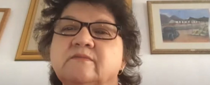 A screengrab of former Public Enterprises Minister Lynne Brown giving evidence via video link to the state capture inquiry on 19 March 2021. Picture: SABC/YouTube