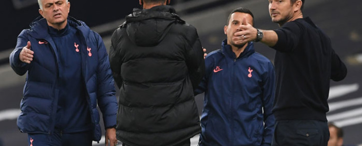 FILE: Tottenham Hotspur's head coach Jose Mourinho (L) and Chelsea's head coach Frank Lampard (R) gesture during the English League Cup fourth round football match between Tottenham Hotspur and Chelsea at Tottenham Hotspur Stadium in London, on 29 September 2020. Picture: AFP