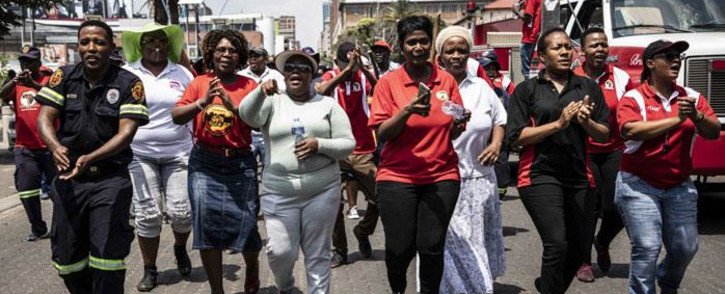 West Rand district municipality employees protested over unpaid salaries outside the office of the Gauteng premier on 14 November 2018. Picture: Abigail Javier/EWN