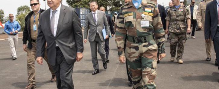 United Nations secretary-general Antonio Guterres (L) on his three-day tour of Democratic Republic of Congo. Picture: @antonioguterres/Twitter.