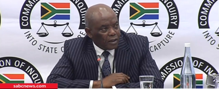 A screengrab of the former head of state protocol Bruce Koloane appearing at the Zondo Commission on 9 July 2019.