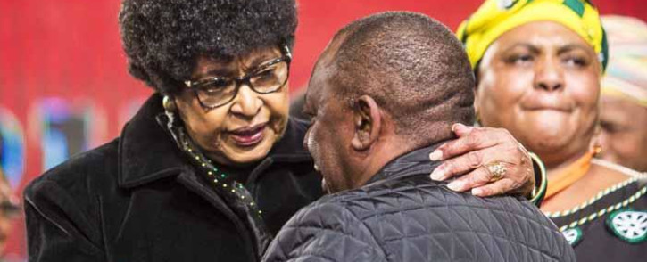 FILE: Winnie Madikizela-Mandela greets Cyril Ramaphosa at the ANC national policy conference at Nasrec on 30 June 2017. Picture: EWN
